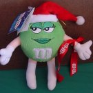 "M&M's Green Miss Sassy Santa Girl Stuffed Plush 8"" Tag"