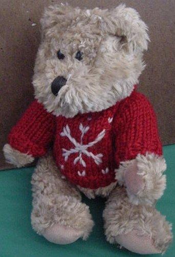 """Hugfun Int Bear Red Snowflake Sweater Stuffed Plush 9"""""""