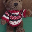 Hugfun Int Bear Red White Green Sweater Stuffed Plush
