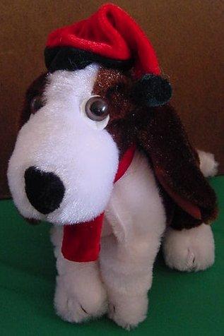 "Christmas Basset Hound Dog Elf Hat Stuffed Plush 8"""