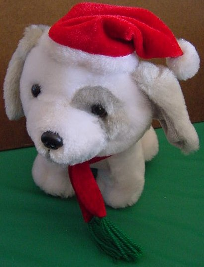 Gray & White Puppy Dog Santa Christmas Stuffed Plush