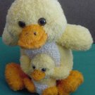 Yellow Duck Mom & Baby Scrubber Bath Toy Plush 7""
