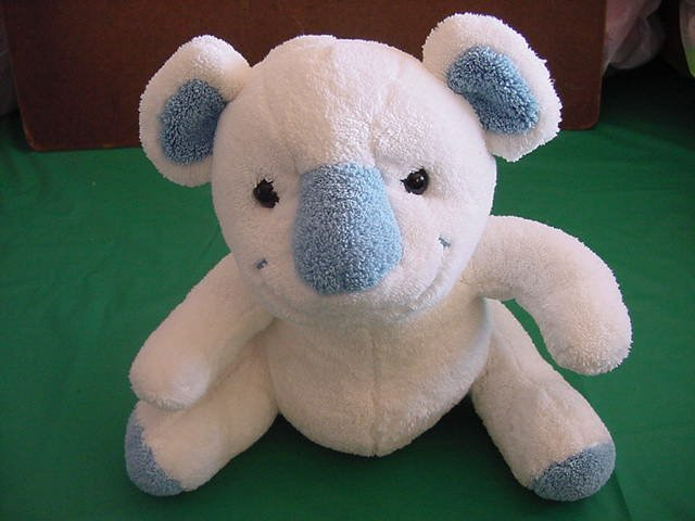 "Bebisol Gingo Biloba France Soft White & Blue Bear Stuffed Plush 9"""
