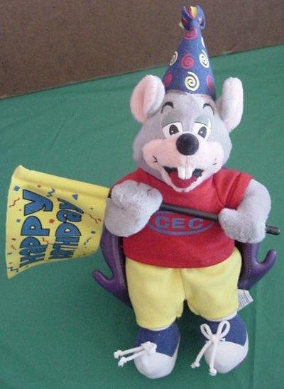"Chuck E Cheese Mouse Happy Birthday Flag Stuffed Plush 12"""