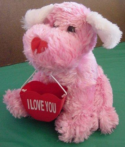 "Pink Puppy Dog I Love You Holder Stuffed Plush 8"" Soft"