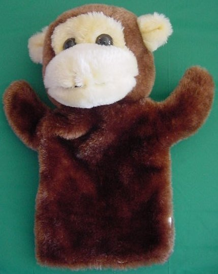 Brown & Beige Monkey Hand Puppet Stuffed Plush 10""