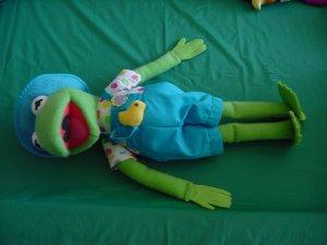 """Kermit Frog Gardener Farmer Stuffed Plush 17"""" Muppet"""