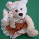 Calplush Mom & Baby Cream Bear Dress Stuffed Plush 7""