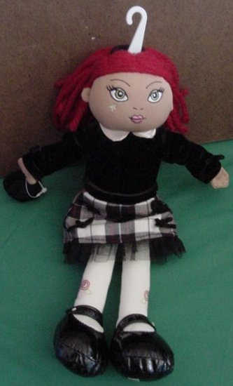 Childrens Place Red Hair Black Dress Doll Stuffed Plush