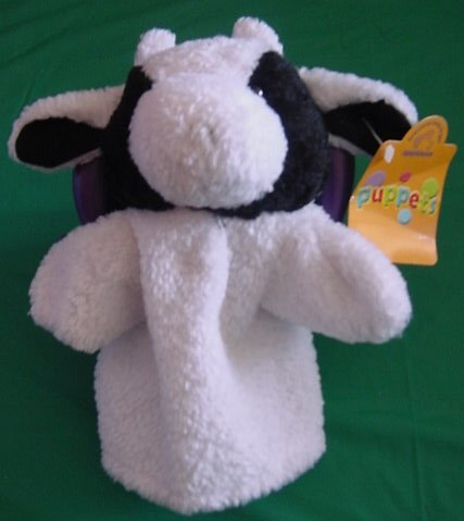 Applause Black & White Cow Hand Puppet Stuffed Plush 9""