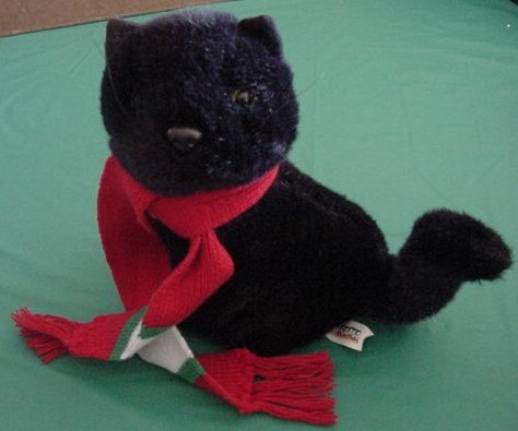 """Toy-O-Rama Black Cat Kitty in Scarf Stuffed Plush 9"""""""