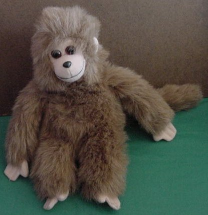 Ty Velcro Hands Fuzzy Brown Monkey 1993 Stuffed Plush