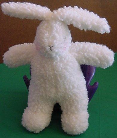 "Mud Pie White Wooly Bunny Rabbit Stuffed Plush 9"""