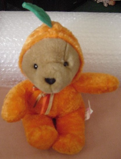 Fiesta Halloween Bear in Pumpkin Suit Stuffed Plush 10""