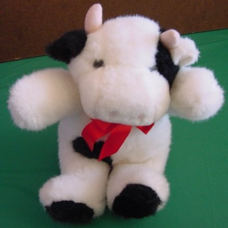 White & Black Cow Red Bow Stuffed Plush 8""