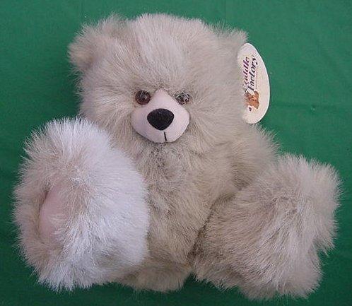 "Cuddle Factory Gray Fuzzy Bear Stuffed Plush 8"" Tag"
