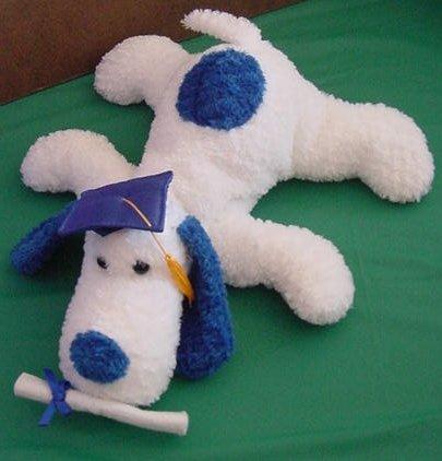 "Fiesta Floppy White Blue Grad Dog Stuffed Plush 11"""