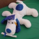 Fiesta Floppy White Blue Grad Dog Stuffed Plush 11""
