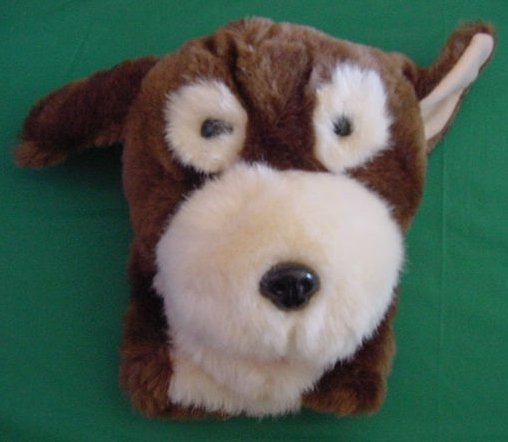 Pepper Puppet Hand Brown Cream Dog Stuffed Plush 8""