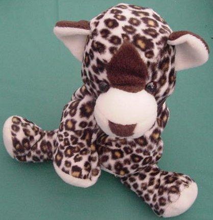 "Animal Alley Leopard Cat Floppy Beanie Stuffed Plush 8"""