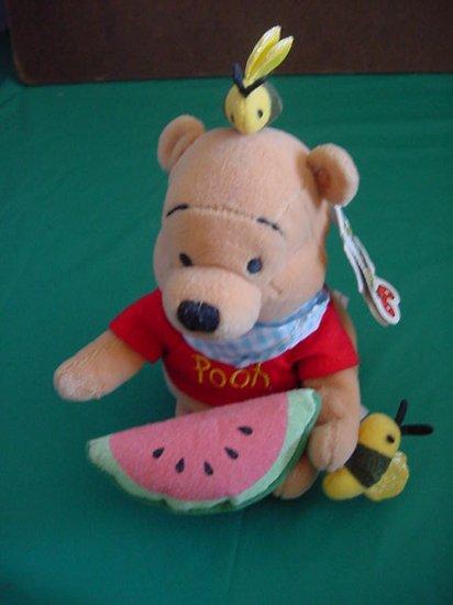 """Winnie Pooh Summer Fun Watermelon Bees Beanie Plush 6"""""""