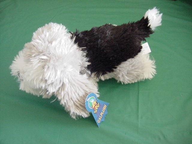 Calplush Fuzzy Gray Black & White Dog Stuffed Plush