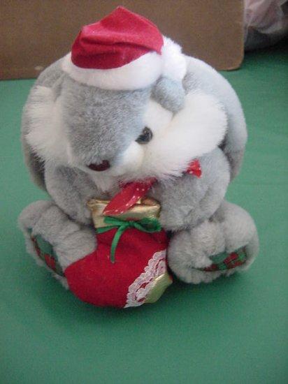 "Wide Way Inc Gray Bunny Christmas Hat Stuffed Plush 7"""