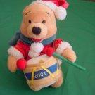 """Winnie the Pooh Bear Drummer 2001 Christmas Beanie Plush 6"""""""