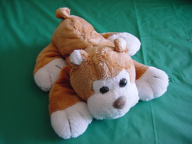 "King Plush Brown White Dog Puppy Beanie Plush 7"""