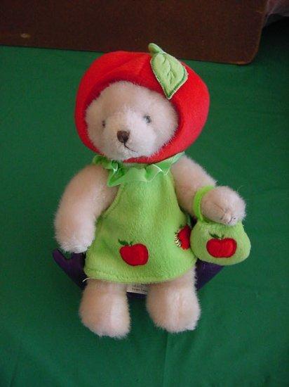 """Hugfun Int Bear in Apple Outfit Stuffed Plush 6"""""""