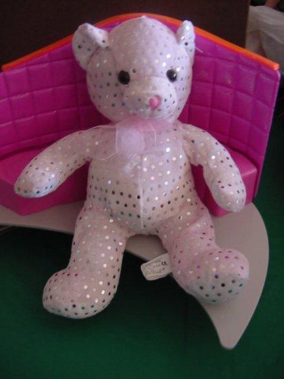 "Kuddle Me Toys Pink Silver Spots Bear Stuffed Plush 9"""