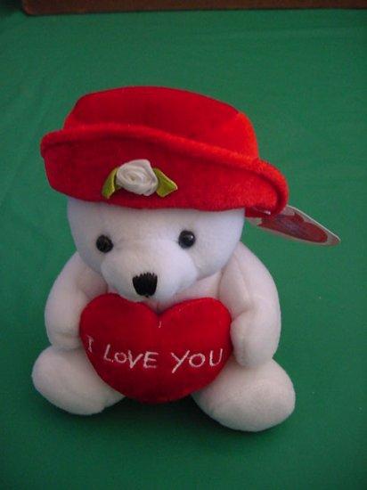 "Plushland White Bear I Love You Heart Stuffed Plush 6"""