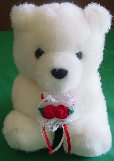 Fiesta White Bear Holding Roses Stuffed Plush 6""