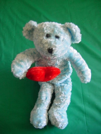 "Blue Bear Holding Heart Beanie Stuffed Plush 6"""
