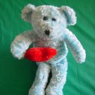 Blue Bear Holding Heart Beanie Stuffed Plush 6""
