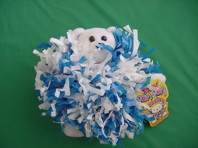Teddy Pom Pon Pom Bear Scrunchie Stuffed Plush Tag Blue