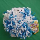 Teddy Pom Pon Pom Bear Scrunchie Stuffed Plush Tag Blue