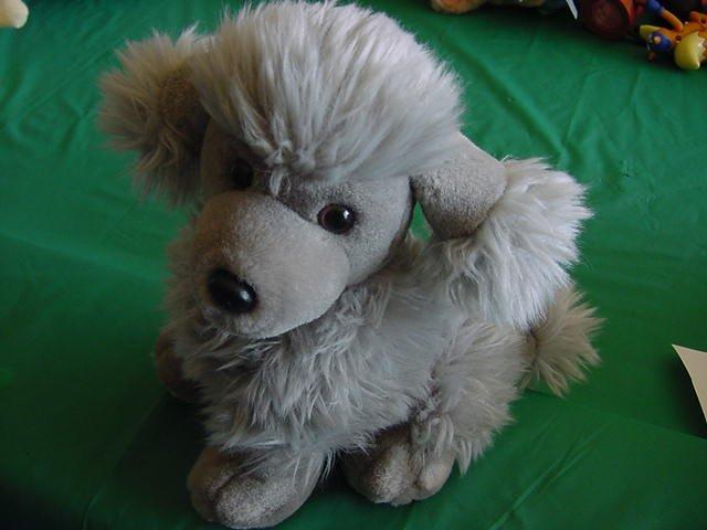 "Gray Poodle Dog Fuzzy Stuffed Plush 8"""