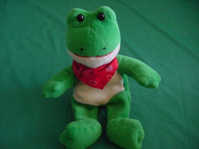 "Wal-mart Green Frog Red Bandana Beanie Plush 5"""