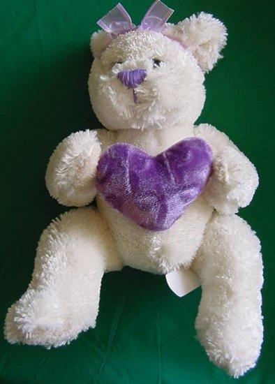 "Soft Spring Bear Holding Purple Heart Stuffed Plush 6"""