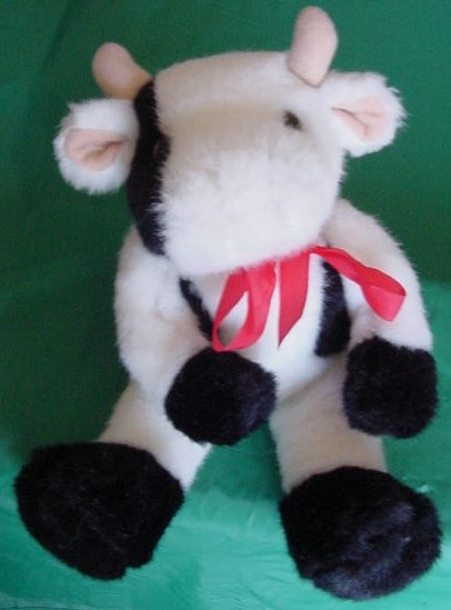 Oriental Trading Co Cow Black White Stuffed Plush 7""