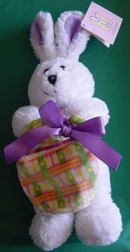 "Easter White Bunny with Basket Stuffed Plush 7"" Galerie"