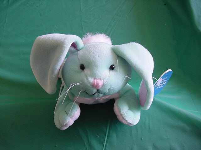 "Easter Blue Bunny Beanie Plush 6"" March of Dimes"