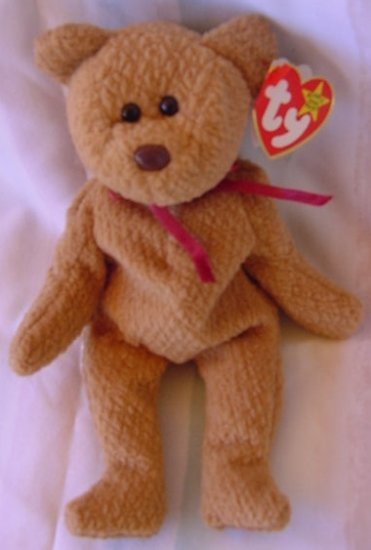TY Beanie Baby Curly Brown Bear Plush W/ Tag 4052
