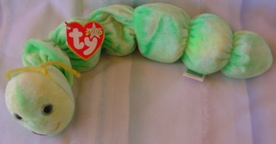 TY Beanie Baby Squirmy the Worm Green Plush W/ Tag