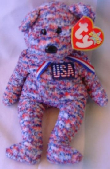 TY Beanie Baby USA Red White Blue Bear Plush W/ Tag