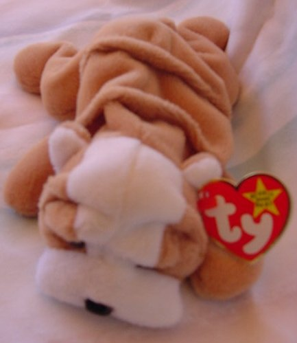 TY Beanie Baby Wrinkles Bulldog Stuffed Plush Tag Dog