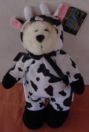 "Toy Works Bear in Cow Suit Stuffed Plush 9.5"" Tilt.com"