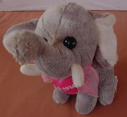 Wal-mart Elephant I Love You Heart Stuffed Plush 6.5""