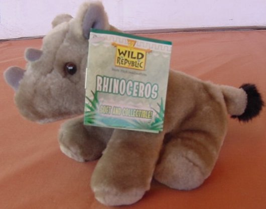 Wild Republic Rhino Gray 2 Horns Beanie Plush Tag 5""